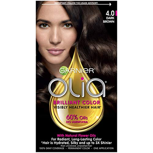 Garnier Olia Ammonia Free Permanent Hair Color, 100 Percent Gray Coverage (Packaging May Vary), 4.0 Dark Brown Hair Dye, 1 Kit (Dark Brown Hair Color Without Red Tones)