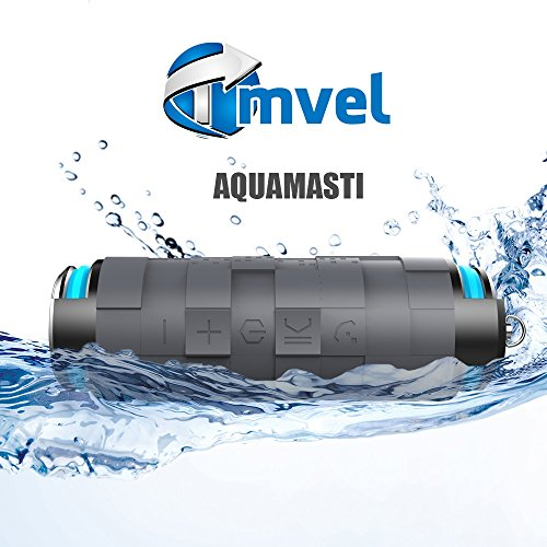 Tmvel Aquamasti Mini Ultra Portable Wireless Bluetooth Speaker : Louder Volume, More Bass, Water Resistant, Perfect Speaker for Golf, Beach, Shower & Home