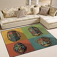 LORVIES Set Of African Ethnic Tribal Masks Area Rug Carpet Non-Slip Floor Mat Doormats for Living Room Bedroom 80 x 58 inches