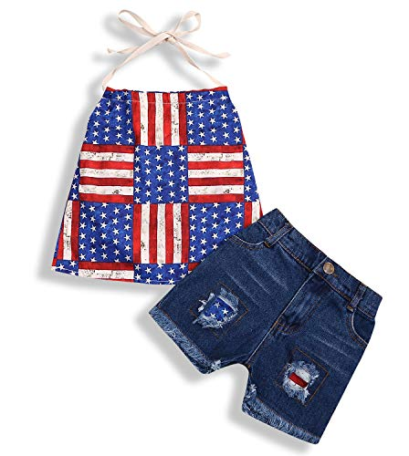 - Infant Baby Girls 4th of July Outfit Independence Day Clothes God Bless The USA Top+Shorts Hole Jeans Pants Set Red