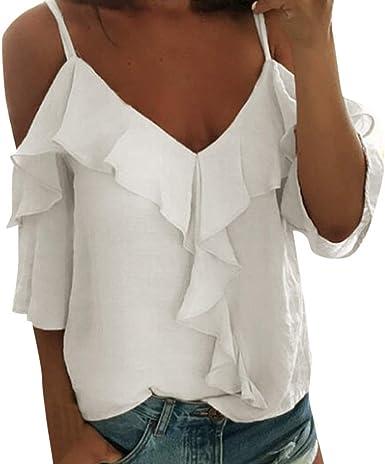 TUDUZ Camisetas Sin Mangas de Verano para Mujer Blusa Volantes Sexy Cuello en V de Tirantes: Amazon.es: Ropa y accesorios