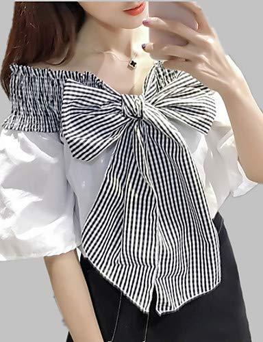Block Color Femme Bow White Blouse YFLTZ Unie Couleur Check BvUFfAq