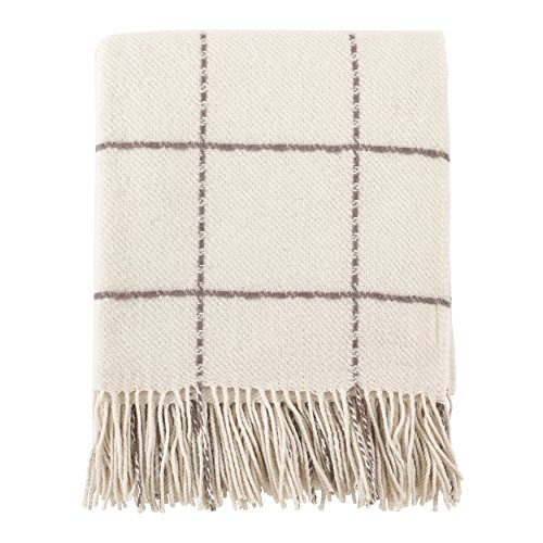 (SARO LIFESTYLE Geometric Windowpane Design Tassel Wool Blend Throw Blanket 50