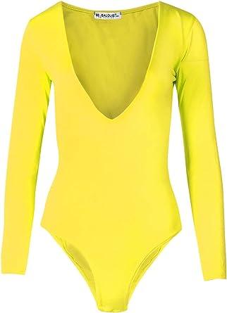 Womens Ladies Long Sleeve Plunge V Neck Low Side Back Bodysuit Leotard Top Royal Blue