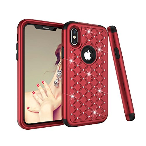 iPhone X/XS Case, Dooge Diamond Studded Bling Rhinestone Shockproof Hybrid Armor Defender Full-Body Rugged High Impact Protective Cover Apple iPhone X - ()