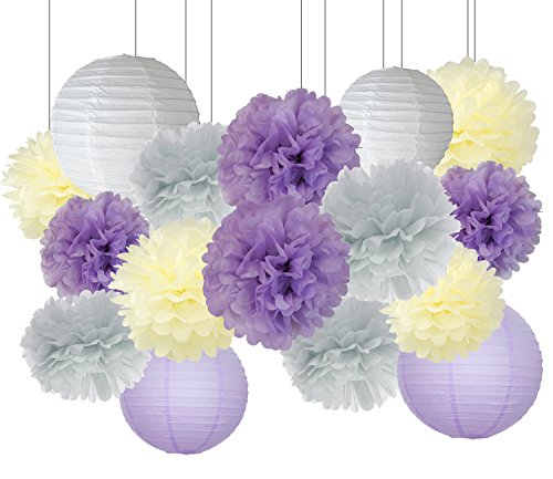 Furuix Purple Wedding Shower Decorations 16pcs Cream Lavender Grey Purple 10inch 8inch Tissue Paper Pom Pom Paper Lanterns for Lavender Themed Party Bridal Shower Decor Baby Shower (Purple And Grey Wedding)