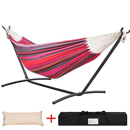 Lazy Daze Hammocks Double Hammock with Space Saving Steel Stand Includes Portable Carrying Case and Head Pillow, 450 Pounds Capacity (Cherry Stripe)