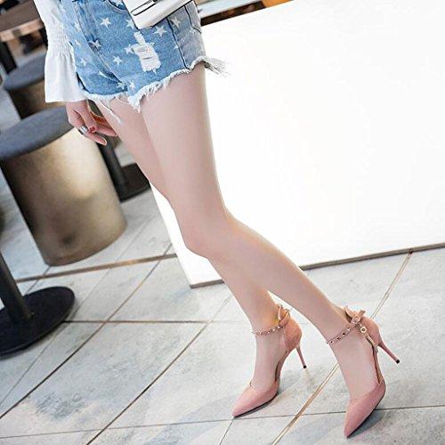 EU35 Finos Emale Summer Suela CN34 Talones Pink con De Scrub Pies Vamp Punta Envueltos Goma Color Tacones Sandalias De UK3 Tamaño Los Zapatos OOZRxnrW