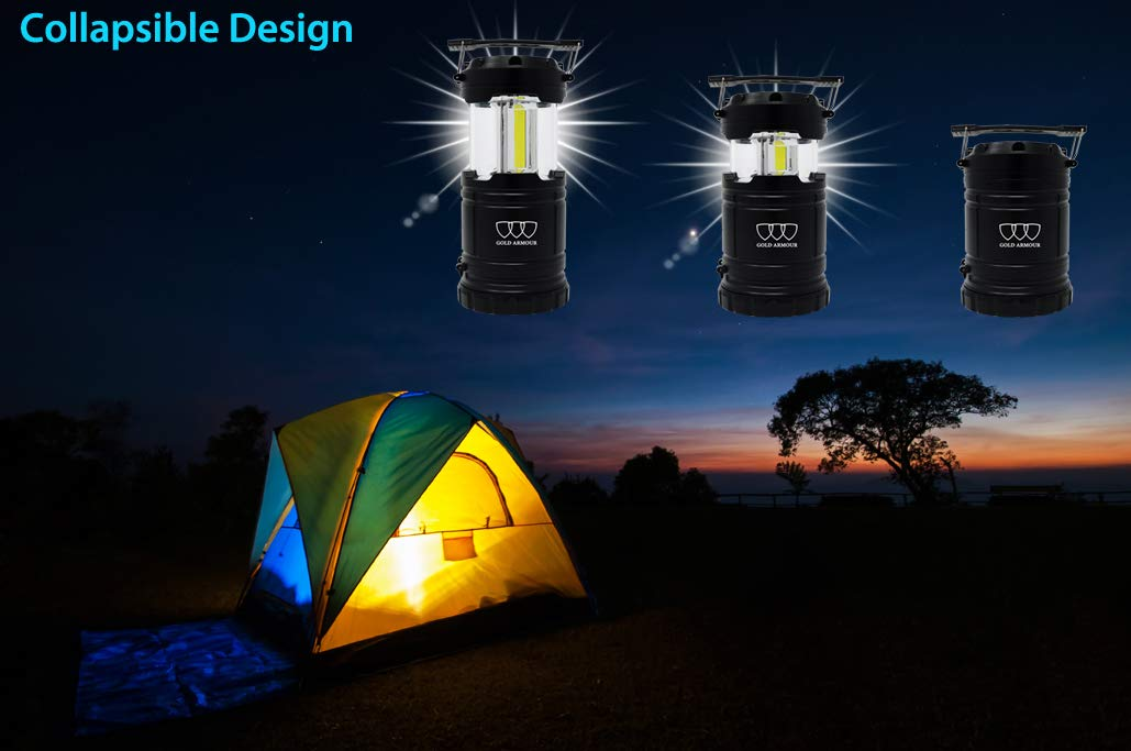 Gold Armour 2 Pack Portable LED Camping Lantern Flashlight with Magnetic Base Hurricane CFL100 Survival Kit for Emergency 6 AA Batteries Included Power Outage 6 AA Batteries Included EMITS 500 LUMENS Power Outage