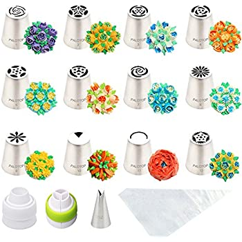 PALOTOP Russian Piping Tips 26pcs Set (12 Russian Tips + Leaf Tip + Coupler + Tri-color Coupler + Full Userguide + 10 Disposable Pastry Bags)