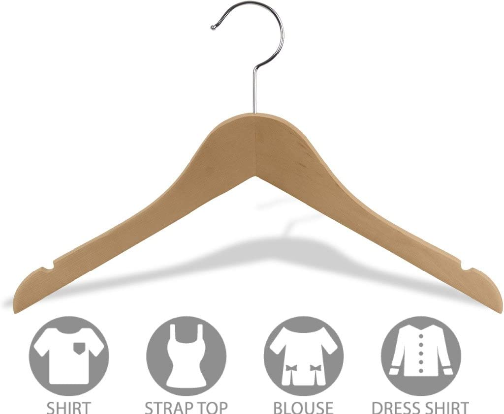 Notches and 360 Degree Chrome Swivel Hook Box of 100 Flat 14 inch Space Saving Wood Hangers w//Natural Finish The Great American Hanger Company Wooden Junior Top Hanger