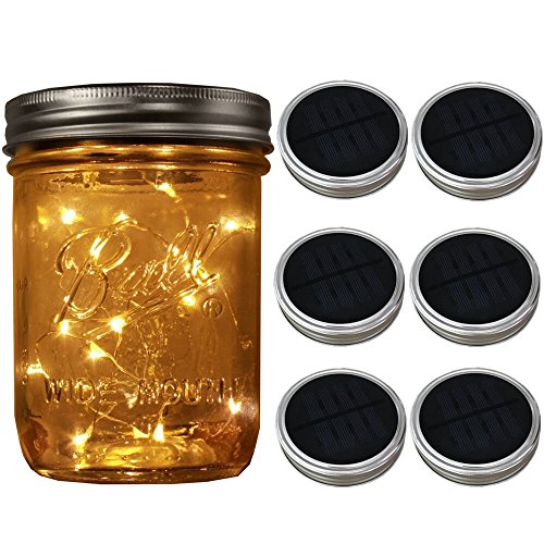 6-Pack Wide Mouth Solar-powered Mason Jar Lights (Jar & Handle Not Included),20 Bulbs Warm White Jar Hanging Light,Solar Fairy Firefly Lights Lids Insert Fit for Wide Mouth Jars