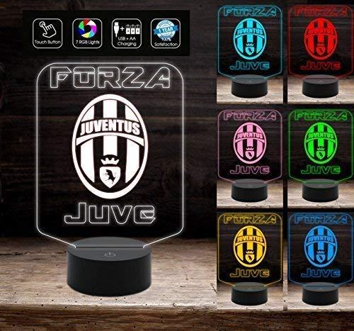 Lampada a led 7 colori selezionabili JUVENTUS personalizzabile con nome a batteria + cavo micro USB juve luce notturna da notte da tavolo o scrivania Decorazione della casa Night Light