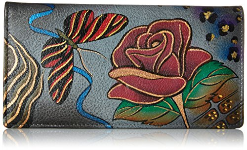 Anuschka Handpainted Leather 1714-RSG Ladies Wallet Snap Button Closure, Rose/Safari Grey, One Size