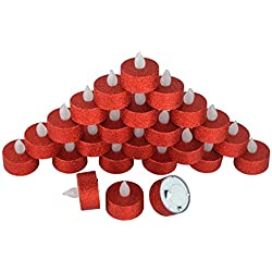 Samyo Set of 24 Led Battery Flameless Votive Tealight Candle Lighting for Wedding Christmas Centerpieces Party Decoration (Red Glitter)