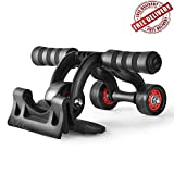 SToK 3-Wheel Unisex Ab Roller and Push up Bar Exercise Equipment for Abdominal Core Workouts and Belly Fat Reducer