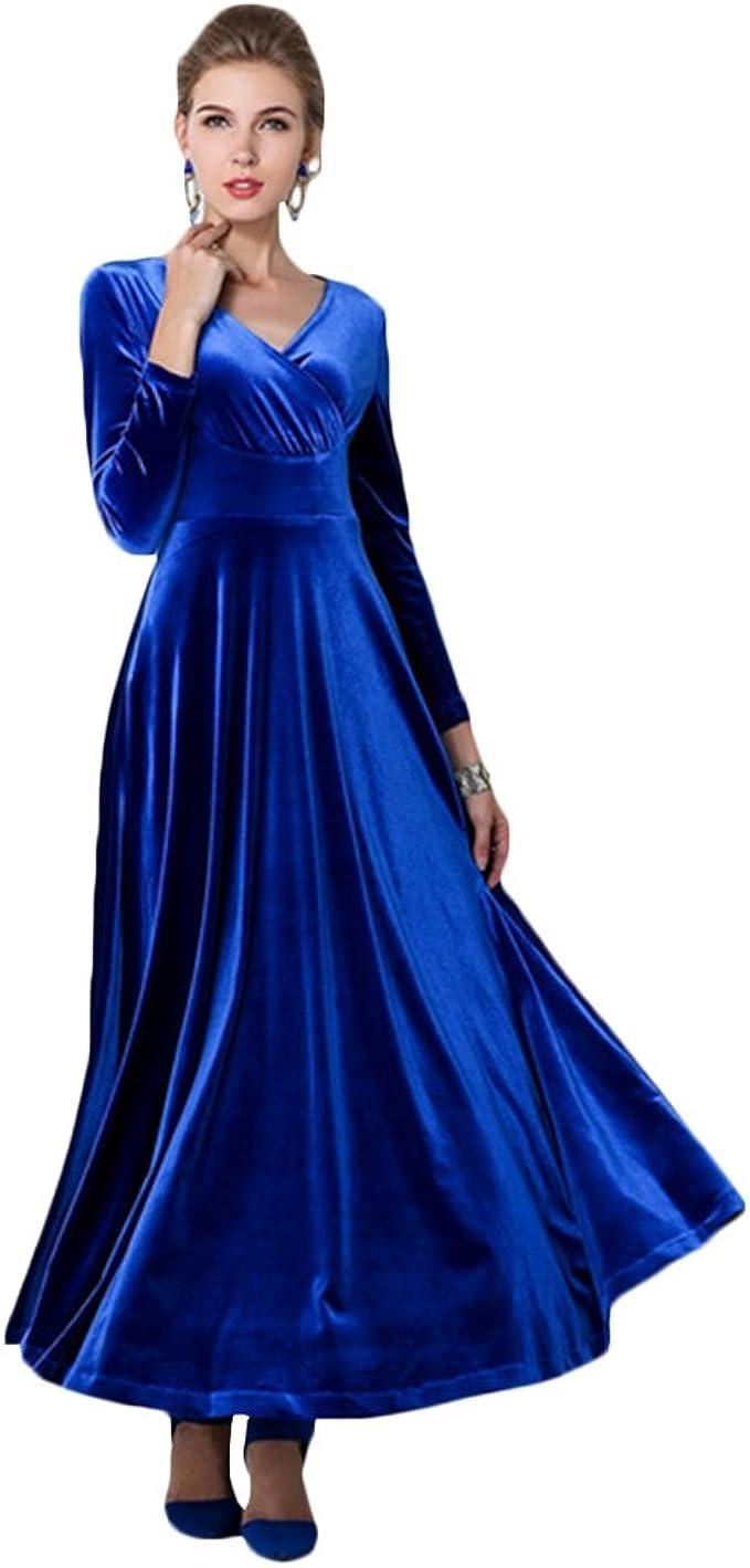 Ashcbus Atemberaubende Luscious Elegante Samt Abendkleid Party Konzert  Kleid Wunderschöne Langärmlige bodenlang Maxikleid dunkle