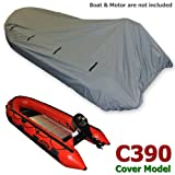 Seamax Dinghy Tender Raft Cover Model: C390, for Inflatable Boat Beam: 5.3-5.7ft Length: 11.3-12.8ft, Gray Color, with Elastic String & Tie Down Rings, Fit Achilles Mercury Zodiac
