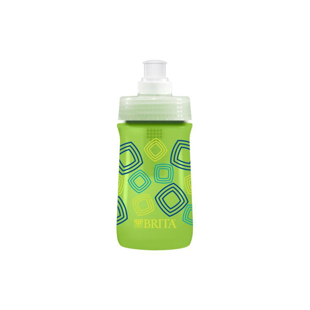 Brita 13 Ounce Kids Sport Water Bottle with Filter - BPA Free - Green Squares