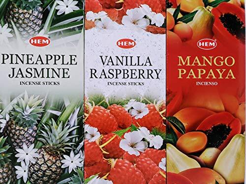 Hem Pineapple Jasmine Vanilla Raspberry Mango Papaya Combo Pack (360 Incense Sticks)