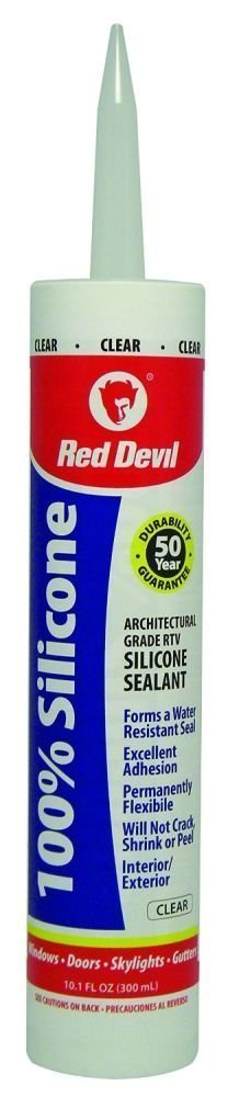 Red Devil 082612 0826 100%, Clear, Case of 12 Silicone Sealant, 10.1 oz