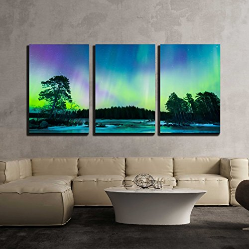 wall26 - 3 Piece Canvas Wall Art - Colorful Northern Lights Aurora Borealis in The Sky - Modern Home Decor Stretched and Framed Ready to Hang - 16