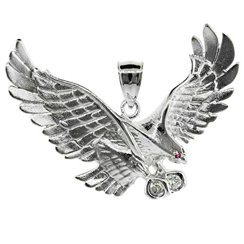 Petits Merveilles D'amour - 14 ct Or 585/1000 Eagle Blanc Avec de Oxyde de Zirconium (moyen) Pendentif