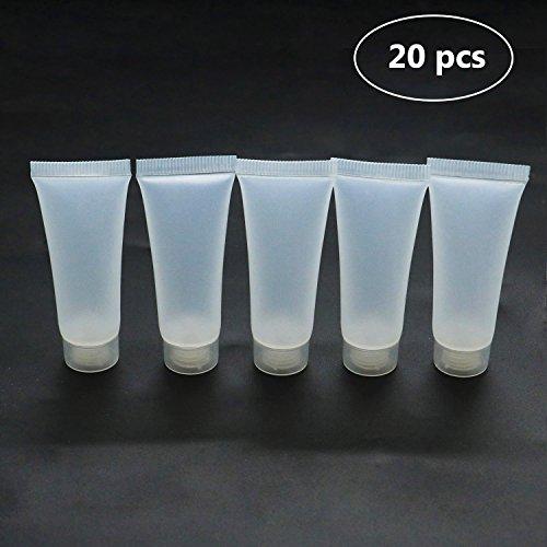 HUELE 20PCS 10ml Empty Refillable Plastic Tubes Bottle PackingSampleBottles ForShampoo Cleanser Shower Gel Body Lotion