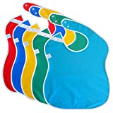 """Toppy Toddler LARGE Waterproof Feeding Bibs. Better Snap Buttons. Bib Easily Wipes Clean! Gift Set Sizes for Girls and Boys, Ages 18 - 48 months (5-Pack, 13"""" x 18"""")"""