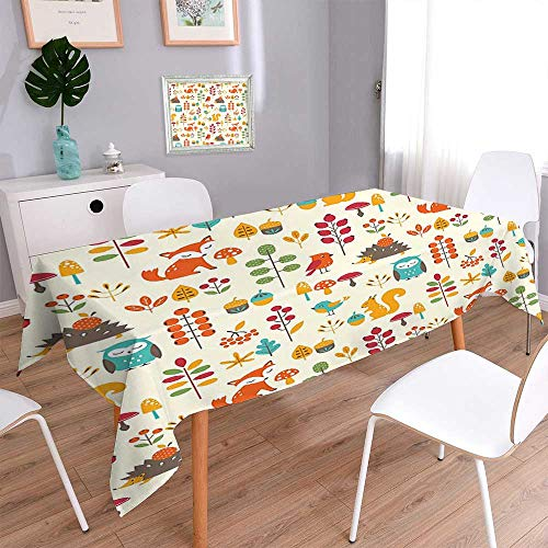 Square Polyester Tablecloth Kids Autumn Pattern with Owl Fox Squirrel Birds Animal Leaves Artsy Print Multicolor Easy Care Spillproof 60