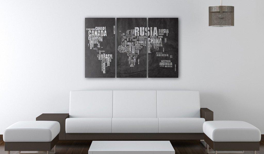 murando Quadro 120x80 cm 3 Pezzi Stampa su Tela in TNT XXL Immagini Moderni Murale Fotografia Grafica Decorazione da Parete Mappa del Mondo 020113-194