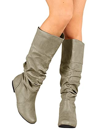 Amazon Com Womens Slouchy Flat Knee High Boot Wide Calf Round Toe