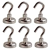 Hulless Powerful 48LB Magnetic Hooks, Strong Neodymium Magnet Hook, Multi Use Magnetic Hooks for Home, Kitchen, Workplace, Office and Garage, 6-Pieces.
