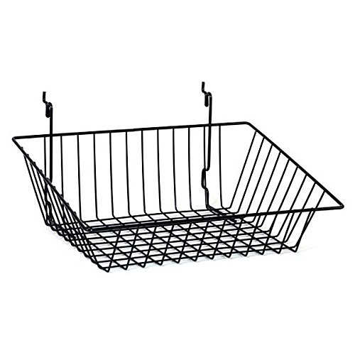 Box of 8 New Black Wire Sloping basket 15''w x 12''d x 5''h Back x 3''h Front