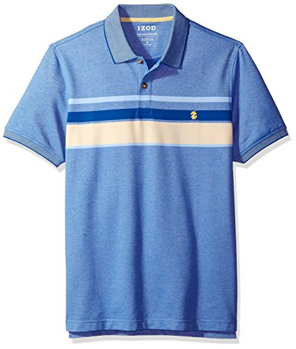 (IZOD Men's Advantage Performance Short Sleeve Stripe Polo, Sundress S2018, Small)