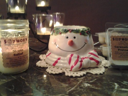 Soyworx Electric Tart Warmer Home Fragrancer NEW! Awesome Snowman with 3 Packs of Soy (Snowman Wax)