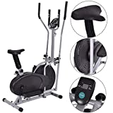 GYMAX Air Fan Bike, 2 in 1 Elliptical Fan Trainer Exercise Bike Indoor Home Cycling Fan Bike Exercise Machine (with Central Handlebar)