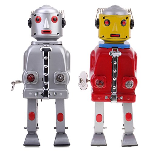 MonkeyJack Set of 2 Vintage Wind Up Tin Mr.Robot Spaceman Retro Clockwork Toy for (Spaceman Tin Robot)