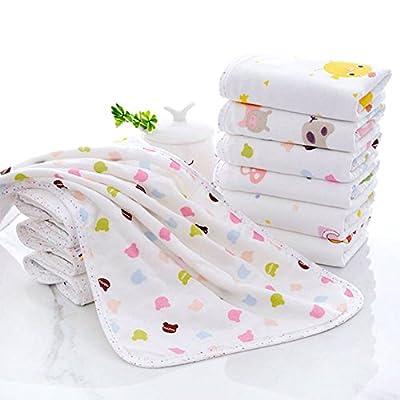 Candy86 Baby Bath Towels Cartoon Comfortable Cotton Bamboo Fiber Composite Baby Shower Baby Face Towel Bath Washcloths Reusable Newborn Babies Gifts (Random Color)