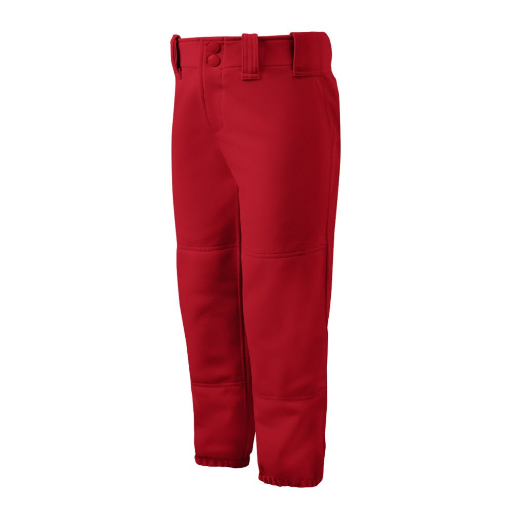 Mizuno Girls Youth Belted Low Rise Fastpitch Softball Pant, Red, Youth Small by Mizuno