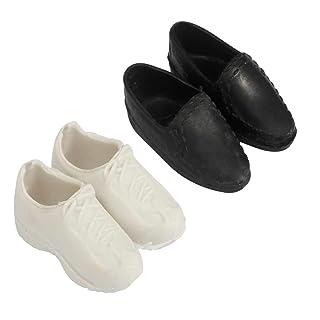 kahuorey Scarpe da Bambola di Plastica Ken Prince Royal-White e Nero(2 paia) (bianco e nero, OneSize)