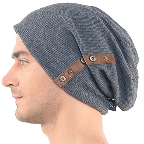 Chic Mens Slouchy Loose Beanie Cotton Skull Cap Winter Hat B020 (Dark Gray) 0c83eb9836c