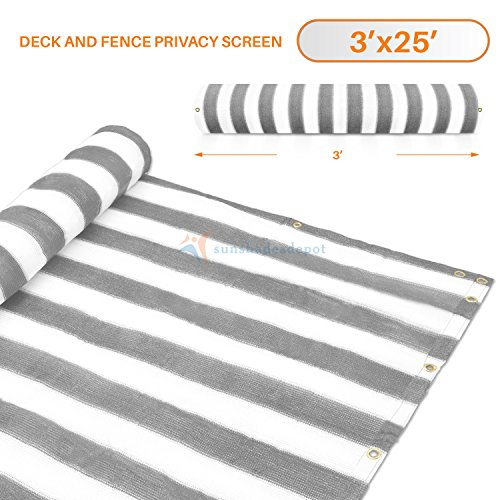 3' x 25' Gray (Grey) with White Stripes Residential Commercial Privacy Deck Fence Screen 200 GSM Weather Resistant Outdoor Protection Fencing Net for Balcony Verandah Porch Patio Pool Backyard Rails