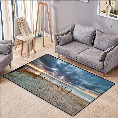 Large Door mat,Seaside Decor Collection,Seaside Walking North Holland Netherland Sundown Romantic Sunlight Sunbeams Image,Anti-Slip Doormat Footpad Machine Washable,5'3