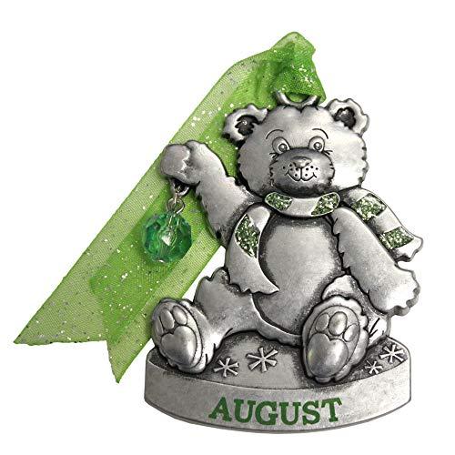 - Gloria Duchin Birthstone Bear - August Christmas Ornament, Silver and Red