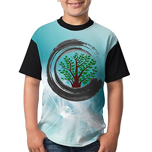 WRREL9Q Summer Adolescent Boys Short Sleeve T-Shirt Bonsai Tree ZEN Youth Short-Sleeved Tee