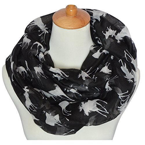 GERINLY Animal Circle Scarves: Cute Moose Print Infinity Loop Scarf (Black)