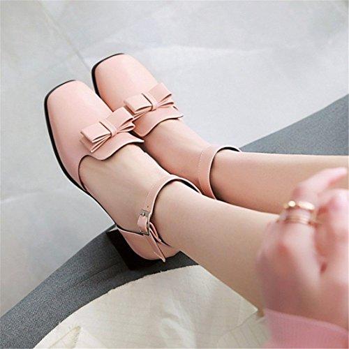 Mujer Mujer con Sandalia Mujer Jefe Pink de Estudiantes en Pulsera Pajarita Sandalias Zapatos para de Parte Sandalias Código con dWBd0