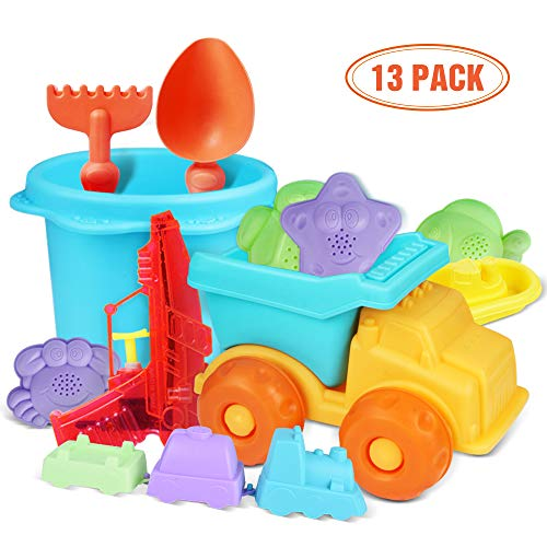 (Beach Toys Set, Sand Toys for Toddlers Durable and Soft Safety Plastic Sandbox Toys Sand Castle Building Kit for Kids and Toddlers Baby Beach Toys Water Gun Included)