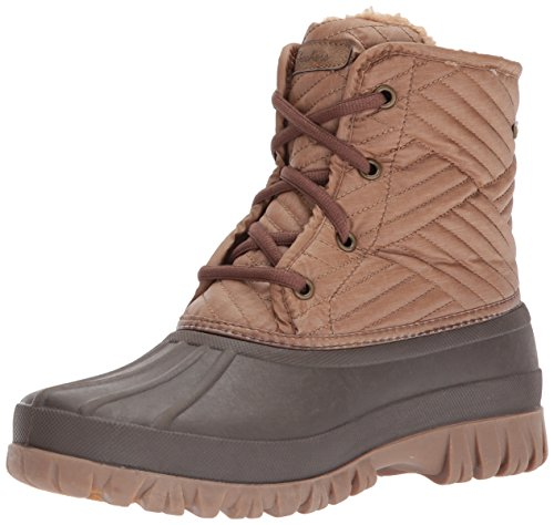 Skechers Women's Windom-Mid Quilted Winter Boot,Brown/Black,10 M US (Winter Quilted Boots)